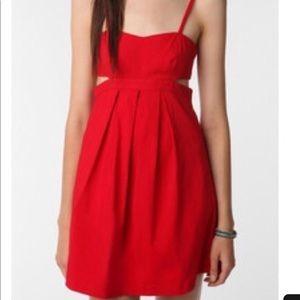 Sparkle & fade red cutout dress
